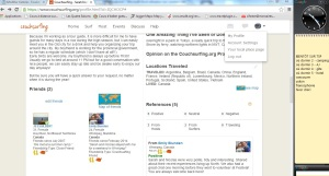 Un aperçu de ce à quoi ressemble un profil (pas beaucoup utilisé!) sur couchsurfing.